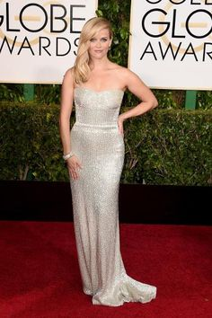 Golden Globes Top Trends: Disco Ball, Plunging Necklines & Cherry Red | Reese Witherspoon in Calvin Klein Collection