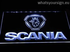 Scania Wordmark - LED neon sign light display made of the highest quality clear plastic and bright colorful lighting. The neon sign displays exactly the same from all angles thanks to the carving with the newest 3D laser engraving process. This LED neon sign is a great gift idea! The neon is provided with a metal chain for displaying. Available in 3 sizes in following colours: White, Blue, Yellow, Green, Orange, Red and Purple!