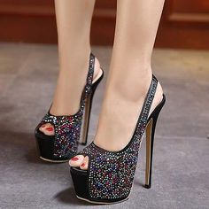8800e7e5af7 Women s High Heel Slingback Platform Stiletto Open Toe Shoes Bling Bling  Pump