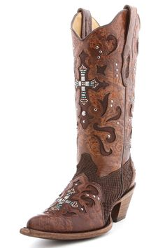 Corral Python Brown Crystal Cross Cowgirl Boot