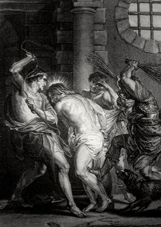 Phillip Medhurst presents John's Gospel: Bowyer Bible print 5540 Jesus is scourged John 19:1 after Rubens on Flickr. A print from the Bowyer Bible, a grangerised copy of Macklin's Bible in Bolton Museum and Archives, England.