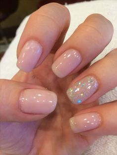 Neutral nails with a little sparkle. Neutral nails with a little sparkle. Neutral nails with a little sparkle. Nail Polish, Shellac Nails, Glitter Nails, My Nails, Squoval Acrylic Nails, Pink Sparkle Nails, Pastel Pink Nails, Glow Nails, Glitter Art