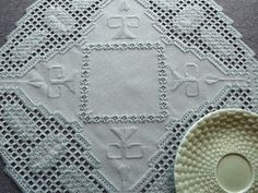 Hardanger Doily Centerpiece  Moss Green on by ThisAndThat4UAndMe