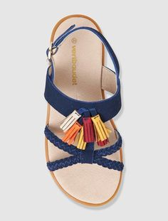 Sandalias de piel especial pies finos niña AZUL MEDIO LISO+BLANCO MEDIO LISO CON MOTIVOS