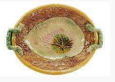 Majolica Bread Tray, Begonia Leaf