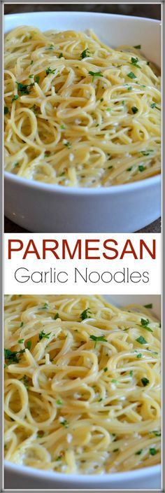 Garlic Noodles These Parmesan Garlic Noodles recipe is ready in 15 minutes and has loads of fresh garlic, butter, parsley and cheese!These Parmesan Garlic Noodles recipe is ready in 15 minutes and has loads of fresh garlic, butter, parsley and cheese! Think Food, I Love Food, Food For Thought, Good Food, Yummy Food, Tasty, Italian Recipes, New Recipes, Favorite Recipes