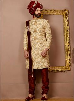 Buy designer Indian wedding sherwani at best prices. Shop the latest sherwani designs online for wedding & festivals. Sherwani For Men Wedding, Wedding Dresses Men Indian, Sherwani Groom, Mens Sherwani, Indian Wedding Wear, Wedding Dress Men, Wedding Suits, Wedding Couples, Punjabi Wedding