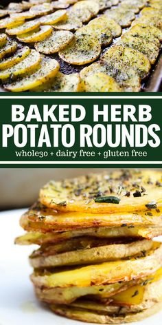 Baked Herb Potato Rounds are tender and they taste buttery but there s absolutely no butter This is an easy side dish you re going to want to make weekly Perfect for breakfast or dinner compliant dairy free gluten free # Gluten Free Sides Dishes, Gluten Free Recipes For Dinner, Gf Recipes, Side Dishes Easy, Side Dish Recipes, Cooking Recipes, Paleo Side Dishes, Allergy Free Recipes, Gluten Dairy Free Recipes Appetizers