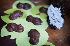 Chocolate frogs on a leaf