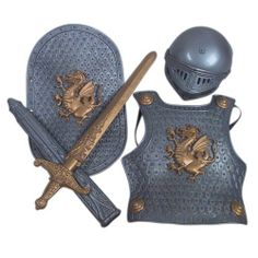 Warrior Knight Costume Set by Rhode Island Novelty. $10.99. Every little warrior will be ready to take on monsters and mystical beasts with this fantastic plastic Knight Set. This adorable set is a great dress-up set for Renaissance Festivals, Halloween, or just some playtime fun. Also great to dress the boys at a princess party! Let them protect all the princesses! Helmet is 10 inches from front to back including the face cover & is 7 inches side to side. Chest protector ...