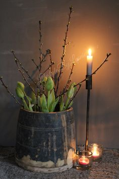 Tulips and branches in vase living # home decoration . Tulips and branches in vase living # home decoration door . Flower Decorations, Christmas Decorations, Vase With Branches, Wabi Sabi, Easter Flower Arrangements, Sober Living, Rustic Home Design, Country Decor, Home Crafts