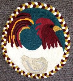"""Rug Hooking Pattern   """"Rooster"""" Chair Pad, Rug Hooking Pattern by In the Wool. Pattern is approximately 15"""" and printed on """"LINEN"""" fabric backing. (A braid was used to finish around chair pad edge).   $ 35.00   http://inthewool.com/"""