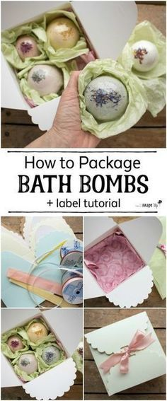 Learn how to package bath bombs for gift giving; also includes a helpful video t… Learn how to package bath bombs for gift giving; also includes a helpful video tutorial on creating your own bath bomb labels! Bath Bomb Packaging, Gift Packaging, Packaging Ideas, Packaging Design, Diy Spa, Bath Fizzies, Bath Salts, Diy Beauty Products To Sell, Lush Products