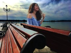 #sky #spring #smile #curly #hair #danube #bench #sunny #clouds