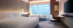 Guest Room at 5 star hotel: New World Shanghai Hotel. This hotel's address is: 1555 Dingxi Road, Changning Hongqiao and INTEX Changning Shanghai and have 558 rooms Hotel Bedroom Design, Shanghai Hotels, Hotels And Resorts, Guest Room, Rooms, Interior Design, Asia, Modern Houses, Furniture
