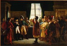Alexander Ier présente à Napoléon les Kalmoucks, les Cosaques et les Baskirs de l'armée russe (9 juillet 1807).oil on canvas.23 × 24.8 cm. Palace of Versailles.Pierre-Nolasque Bergeret  (1782-1863)