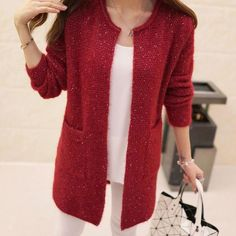 New Winter Autumn Women Casual Long Sleeve Knitted Cardigans Crochet Ladies Sweaters