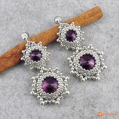 Kolczyki Beaded Swarovski Elements - Amethyst in Silver - Biżuteria ślubna - Biżuteria srebrna