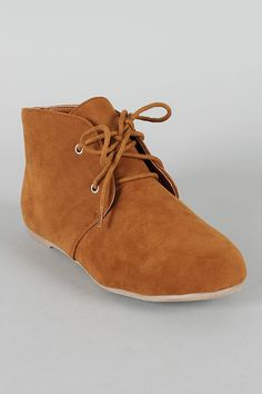 Free-35 Suede Lace Up Flat Ankle Bootie $24.80