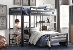 industrial pipe bunk beds   Industrial Loft Study Bunk Bed 2 of 25 Bunk Beds Small Room, Full Size Bunk Beds, Bunk Beds Boys, Bunk Beds With Stairs, Kid Beds, Small Rooms, Loft Beds, Small Space, Teen Boy Bedding