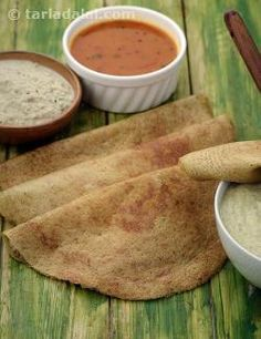 A protein-rich dosa made of split green gram and parboiled rice, moong dal dosa has a soothing taste and texture. It will come out really thin and crisp, and it is often enough if you cook it till one side is browned. Serve hot with a spicy chutney, for breakfast or supper.