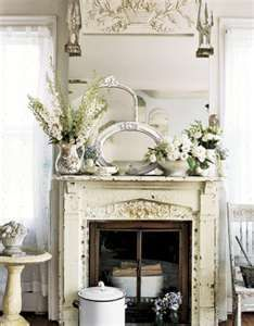 Shabby Chic: Shabby Chic Decorating - Dining Rooms:fireplace mantle