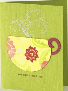 Create an All-Occasion Card from Scraps - circle punch scrap, frill/curl scrap to create cup.