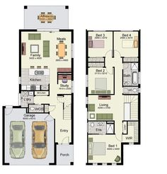 Small 4 Bedroom House Plans Lovely Duplex Small House Floor Plans with 3 or 4 Bedrooms 1 Double Story House, Two Story House Plans, Family House Plans, New House Plans, Modern House Plans, Duplex Floor Plans, Luxury Floor Plans, Garage Floor Plans, House Floor Plans
