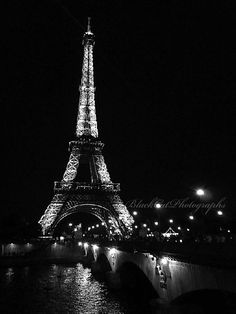 Paris Picture Paris Eiffel tower photo black and white romantic night photography 8x10 wall art Eiffel wall decor Paris photograph