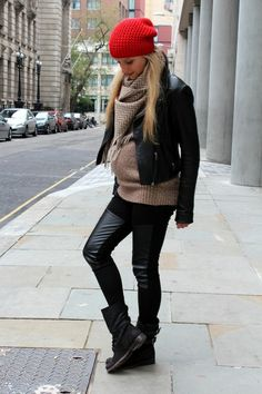 "Charlotte from ""The Fashion Guitar""– h gold knit, brbour chevron scarf, impossibly cooler moto jacket, h beanie, h leather leggings, and All Saints booties"