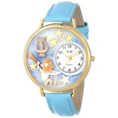 Whimsical Unisex Angel with Harp Baby Blue Leather Watch. #angel #holidaygift #babyblue