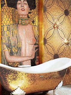 Golden KLIMT inspired bathroom! Love it! Mosaic tiles by MAXIMA SICIS.