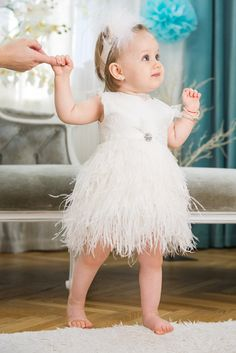 Pearl - Girl Feather Dress For Special Occasions, Chantilly Lace Flower Girl Dress, Christening Dress, Baptism Gown, Ivory Lace Baby Dress