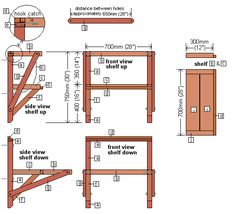 How to make a wall mounted folding work bench - this one has two levels of shelf, you swing the top one down to extend the bottom one.  Interesting!