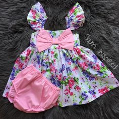 Big bow dress Floral dressfloral fluffy sleeves big bow Baby Dress Design, Baby Girl Dress Patterns, Little Girl Dresses, Kids Frocks, Frocks For Girls, Newborn Girl Outfits, Toddler Girl Style, Cute Baby Clothes, Babe