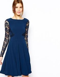Warehouse Lace Sleeved Skater Dress