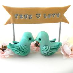 Tiny Wedding Cake Topper  Mint Green Love Birds and by LavaGifts, $36.00