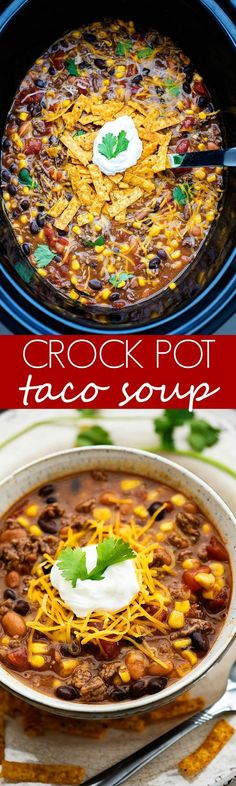 This taco soup could not be any easier to make AND it tastes so delicious! Taco Soup, Chili, Crockpot, Crock Pot Tacos, Healthy Recipes, A Food, Slow Cooker, Health Recipes, Chile