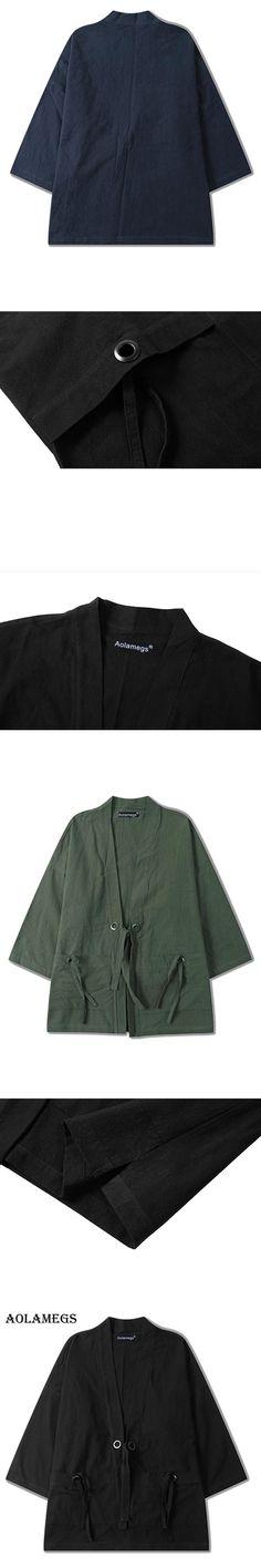 Aolamegs Men Shirt Kimono Japanese Harajuku Solid Mens Shirt Linen Origin Casual Fashion Streetwear Hip Hop Outwear Brand Autumn