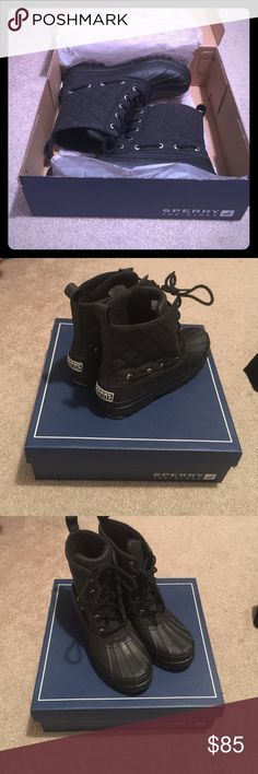 SPERRY TOP SIDER BLACK BOOTS SPERRY TOP - SIDER GOSLING CALF BOOT IN BLACK! Perfect for rain and snow! Very comfortable and chic! Waterproof! Sperry Top-Sider Shoes Winter & Rain Boots