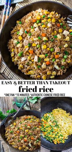 Absolutely the Best Fried Rice with authentic flavors perfect to curb that Chinese Restaurant takeout craving. Super easy recipe to make at home in 15 minutes on the stove. Plus just a few secret ingredients tips to make it better than the local takeout restaurant. Make it on Sunday for weekly meal prep for or leftovers are great for school lunchboxes or work lunch bowls. Includes grain-free, low carb, paleo, vegan