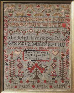 Sampler (motifs & alphabet), made in Llandeilo, 1852 ::: Gathering the Jewels