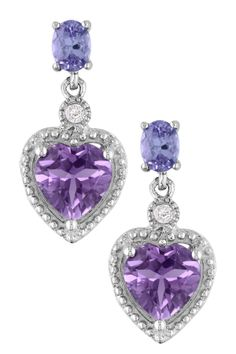 Sterling Silver Diamond Accented Amethyst & Tanzanite Drop Earrings - 0.03 ctw
