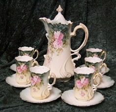 chocolate pot set.. ~~~  people of that era knew the importance of CHOCOLATE, even to having special china just for that :)