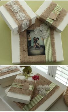 white boxes wrapped in burlap and blush ribbons then tied together with jute