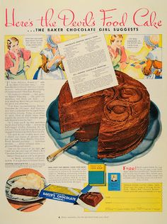 1933 Devil's Food Cake from Baker's Chocolate love old recipes Retro Recipes, Old Recipes, Cookbook Recipes, Vintage Recipes, Cake Recipes, Dessert Recipes, Cooking Recipes, Homemade Cookbook, Cookbook Ideas