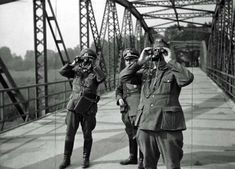"Poland as an ally of Adolf Hitler and the initiator of the Second World War in Europe. Section Czechoslovakia because of the ""Munich Agreement"" of the Western countries. German officers on the Czech-German border, watching the capture of the city of Bohumín by Polish troops."