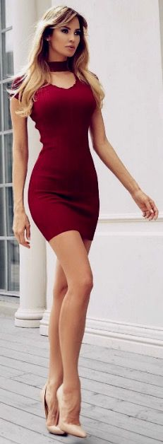 Terrific long legs and dress to show them off