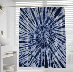 Tie Dye Shower Curtain space shower curtain in dark blue indigo Tie Dye Curtains, Light Blue Throw Pillows, Butterfly Mandala, Cool Shower Curtains, Shower Tile Designs, How To Tie Dye, Blue Bedroom, Tapestry Wall Hanging