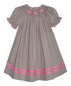 Loving this Gray Smocked Poodle Bishop Dress - Infant, Toddler & Girls on #zulily! #zulilyfinds